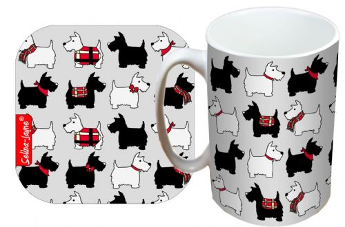 Selina-Jayne Scotty Dogs Limited Edition Designer Mug and Coaster Gift Set